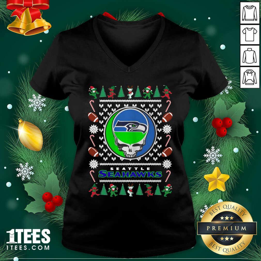 Seattle Seahawks Grateful Dead Ugly Christmas V-neck- Design By 1Tees.com