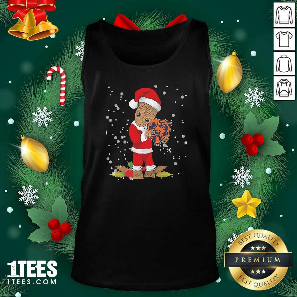 Santa Baby Groot Hug Chicago Bears Christmas Tank Top- Design By 1Tees.com