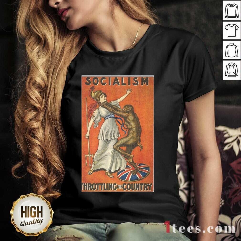 Socialism Throttling The Country V-neck- Design By 1Tees.com