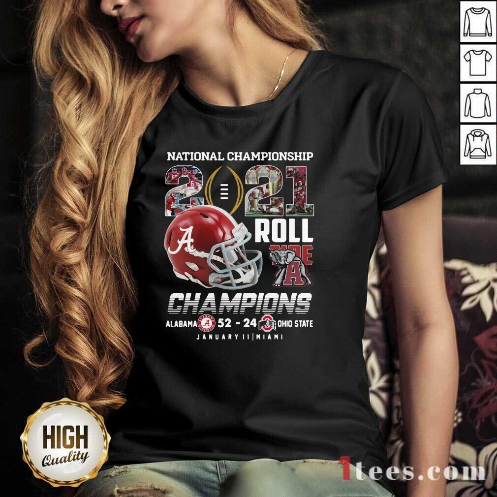 Alabama Crimson Tide National Championship 2021 Champion Alabama 52 24 Ohio State V-neck