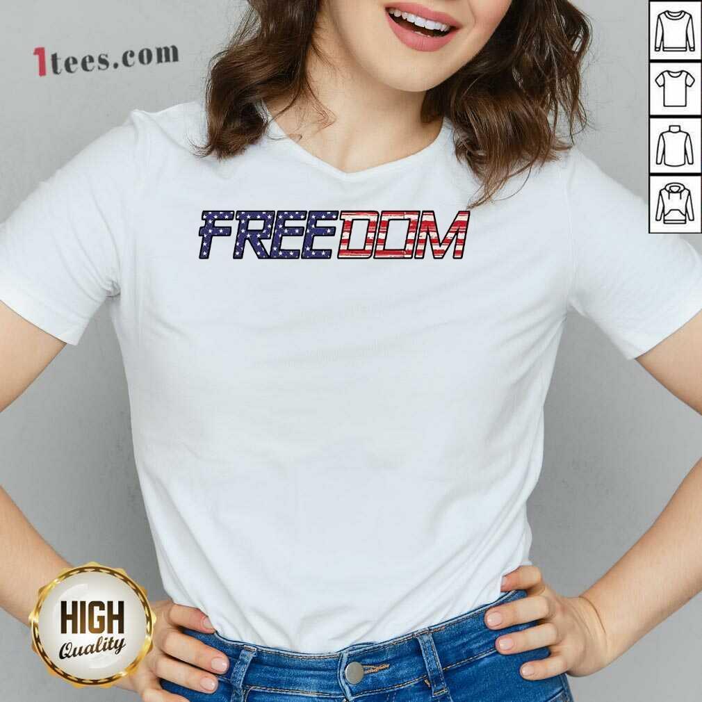 American Flag Patriotic Freedom V-neck- Design By 1tees.com