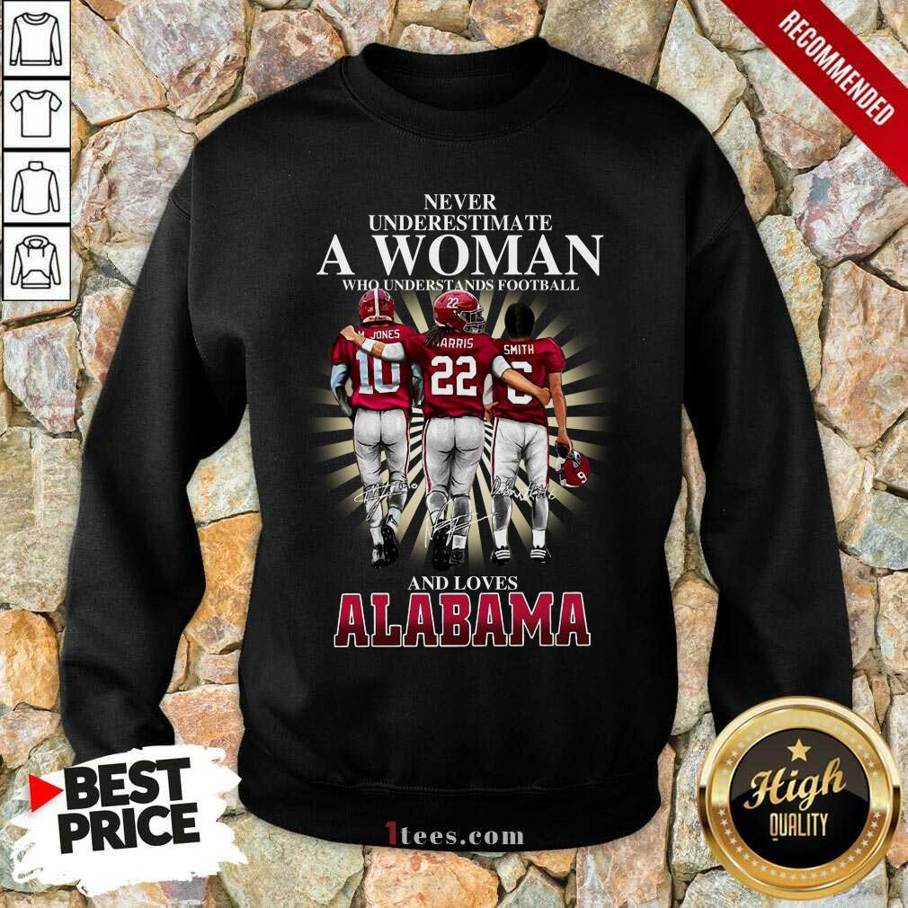Never Underestimate A Woman Who Understands Football And Loves Alabama Signatures Sweatshirt