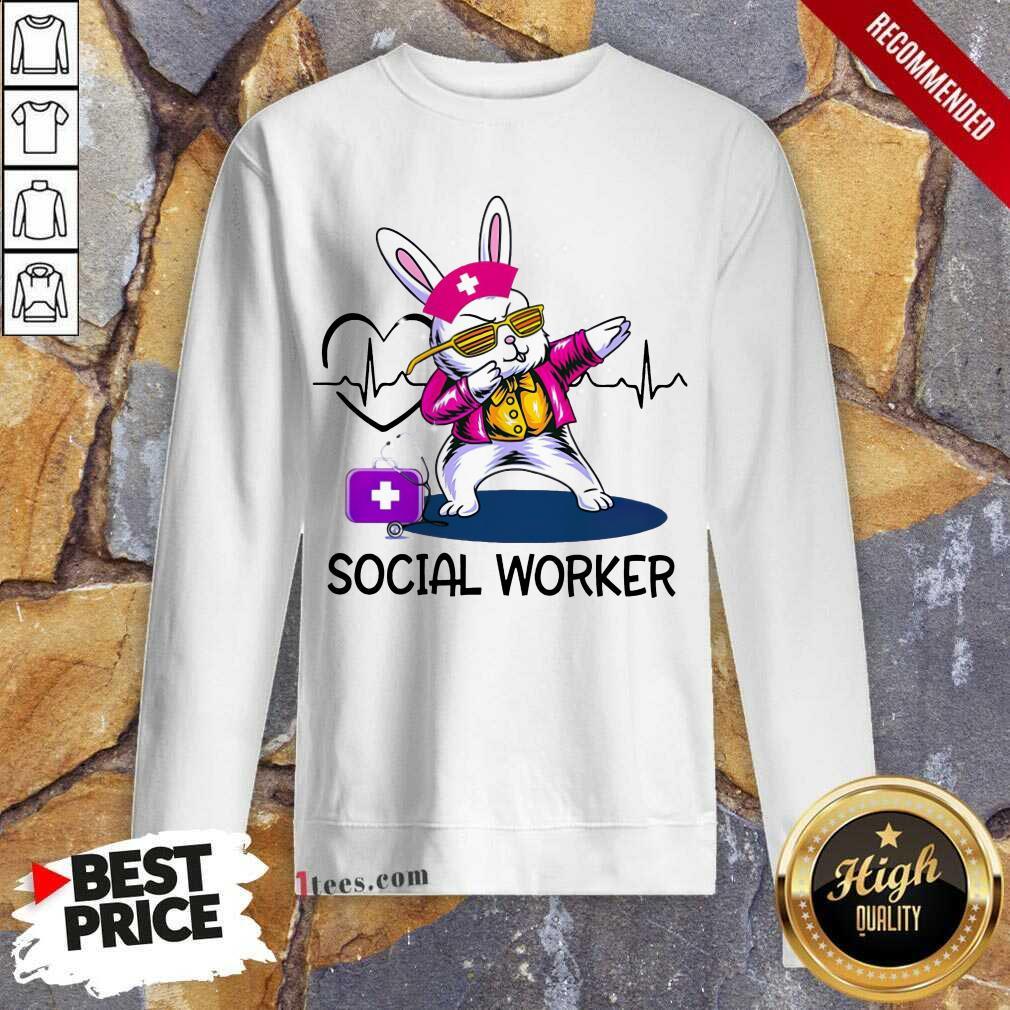 Delighted Bunny Nurse Dab Social Worker Sweatshirt