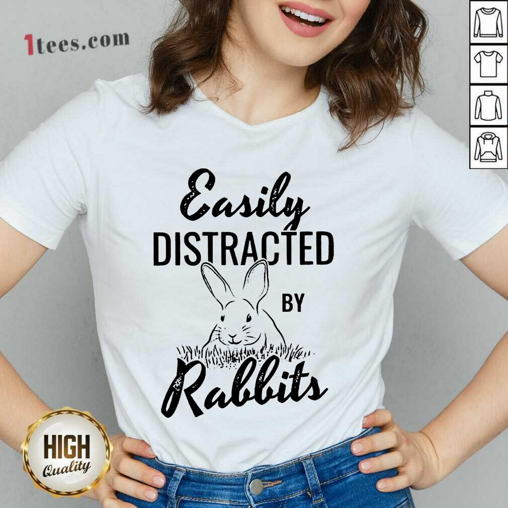 Delighted Easily Distracted By Rabbits V-neck