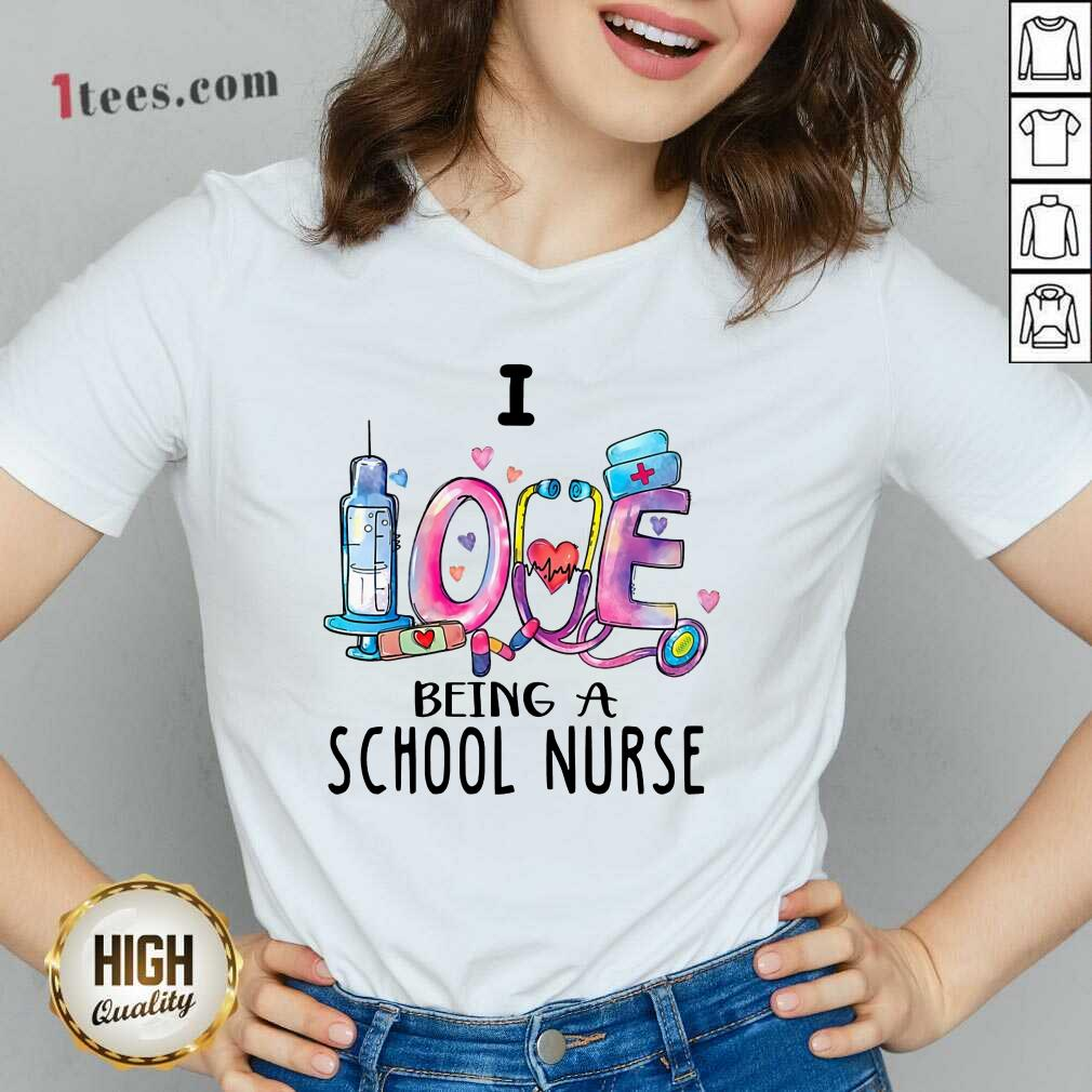 Delighted I Love Being A School Nurse 2021 V-neck