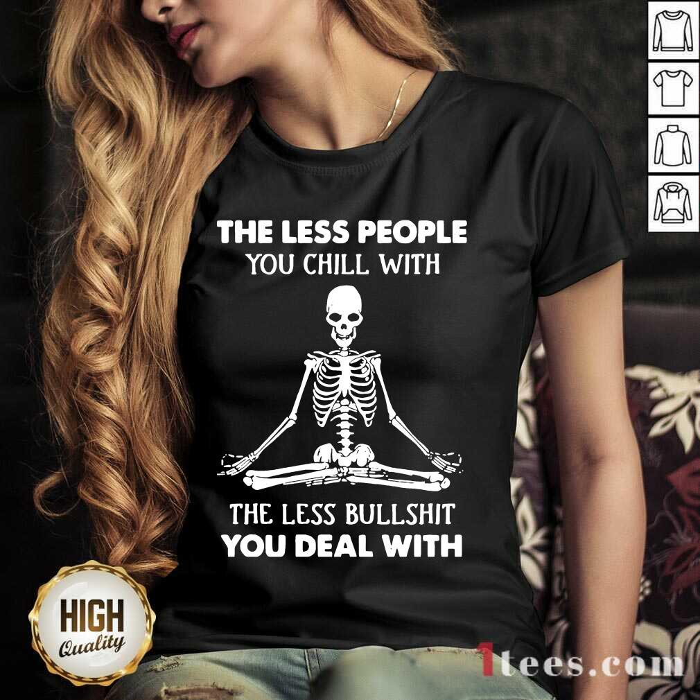 Ecstatic Skeleton Chill Less Bullshit V-neck