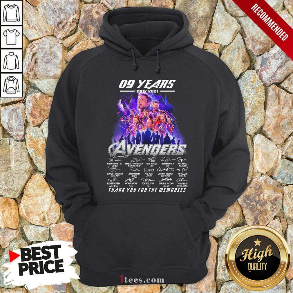 09 Years 2012 2021 Avengers Thank You For The Memories Signatures Hoodie