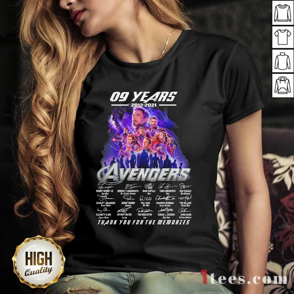09 Years 2012 2021 Avengers Thank You For The Memories Signatures V-neck