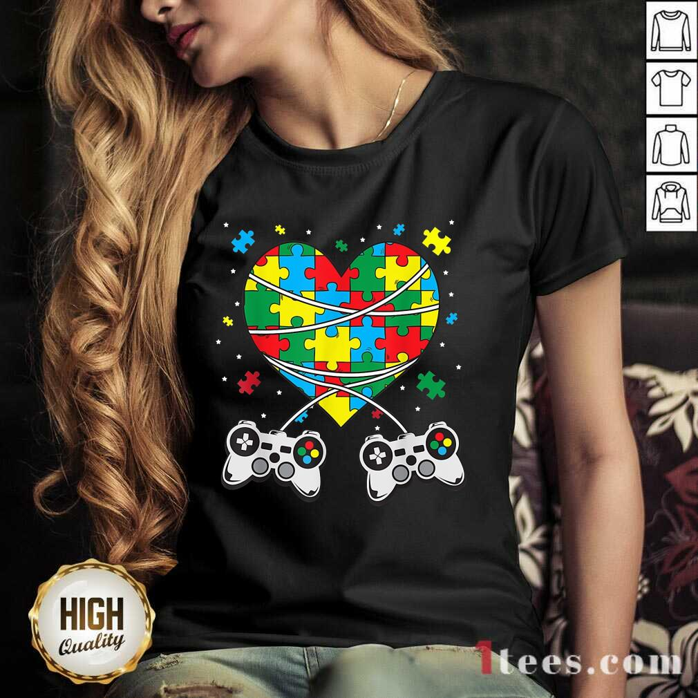 Great Games Puzzle Piece Autism Awareness Game V-neck