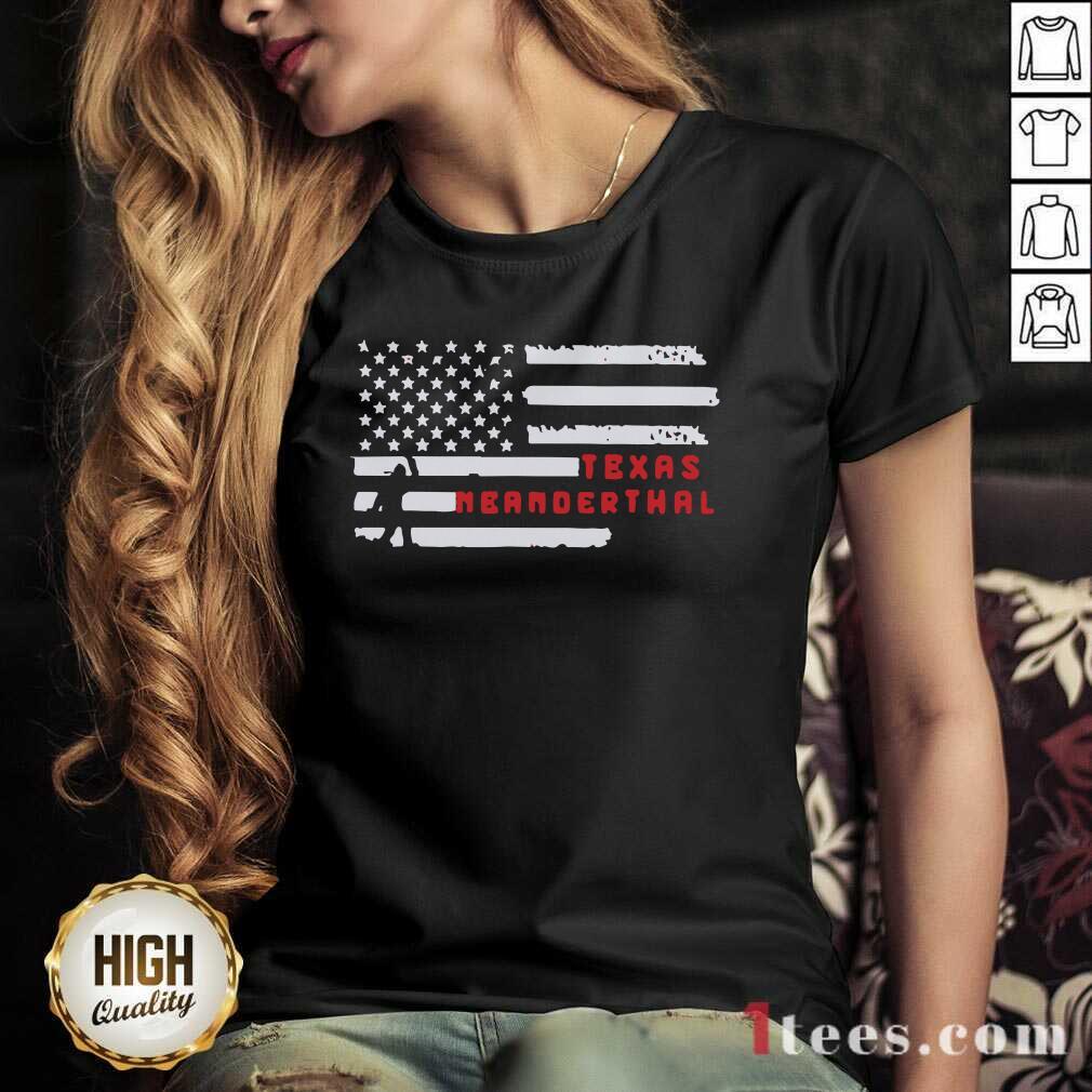 Bigfoot American Flag Texas Neanderthals 2021 V-neck
