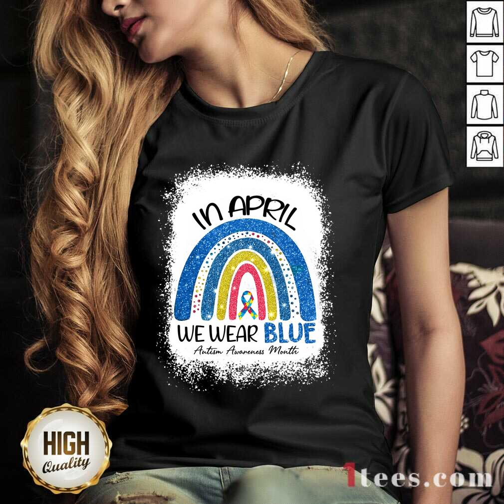 Relaxed In April We Wear Blue Rainbow V-neck
