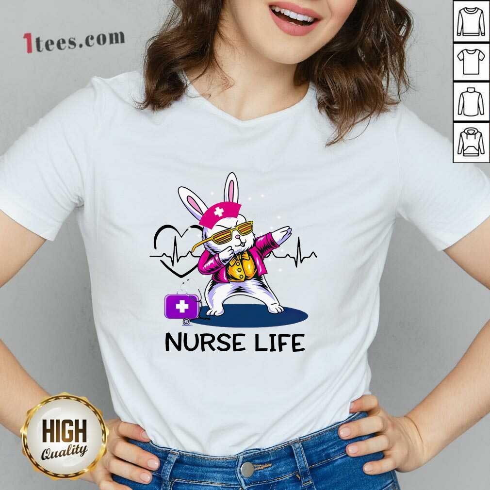 Surprised Bunny Nurse Dab Nurse Life V-neck