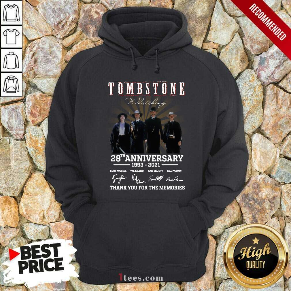 Tombstone 28th Anniversary Thank You For The Memories Signatures Hoodie