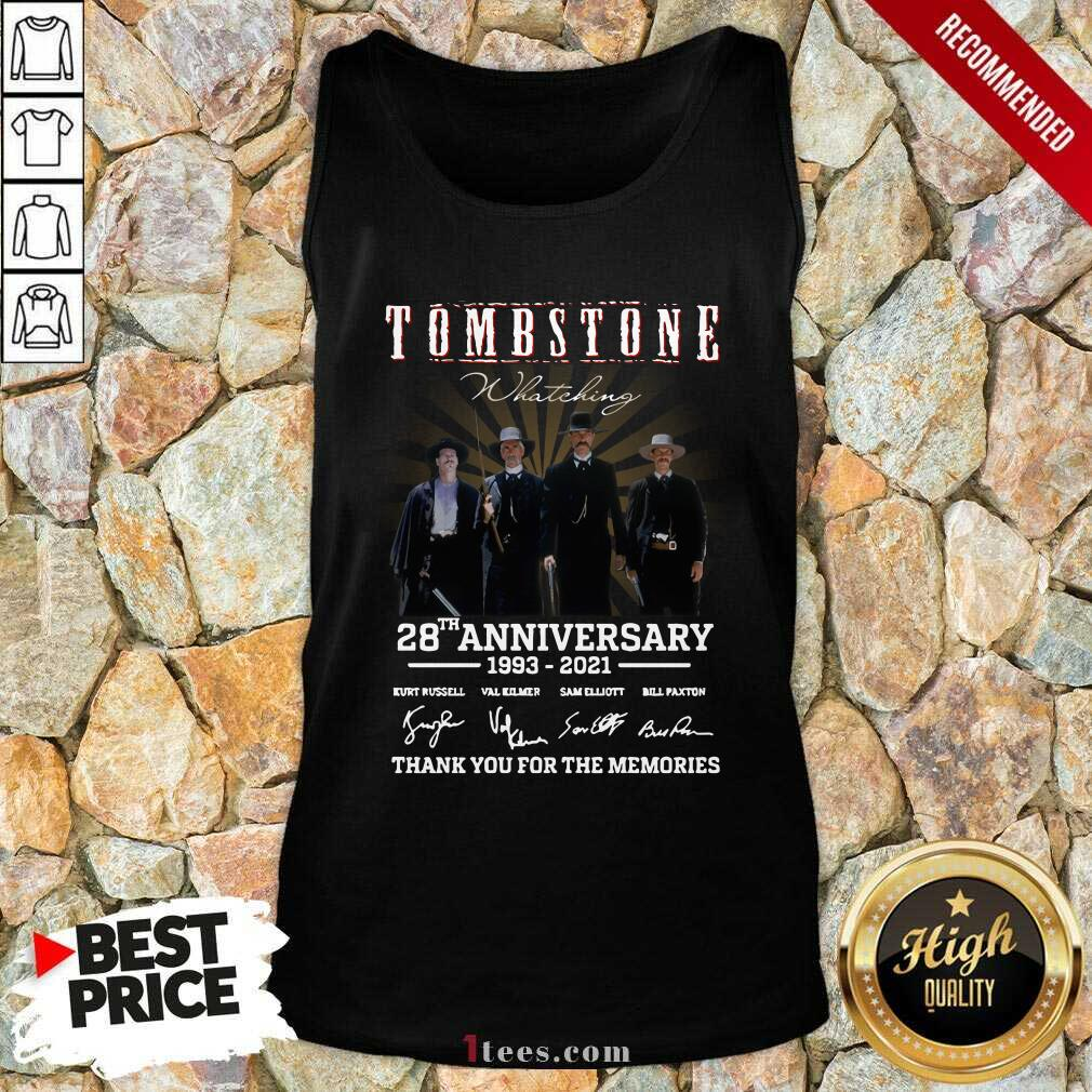 Tombstone 28th Anniversary Thank You For The Memories Signatures Tank Top