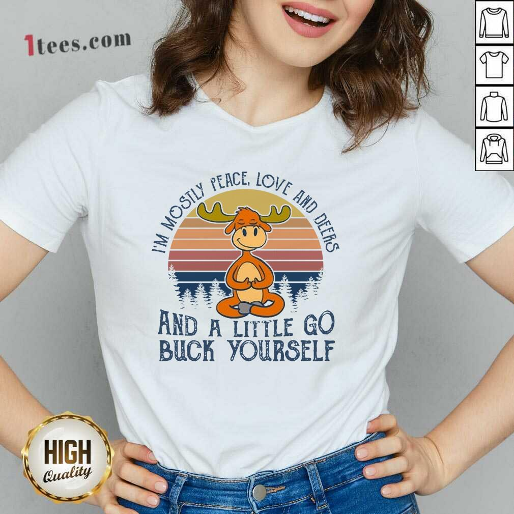 Wonderful Reindeer Deers And A little Go Buck Yourself V-neck