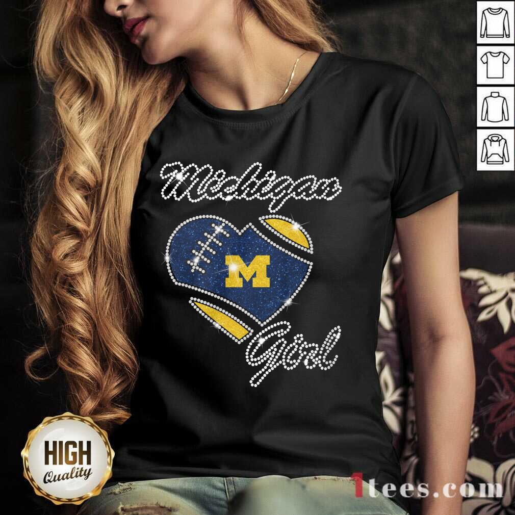 Excited Heart Michigan Girl Diamond V-neck