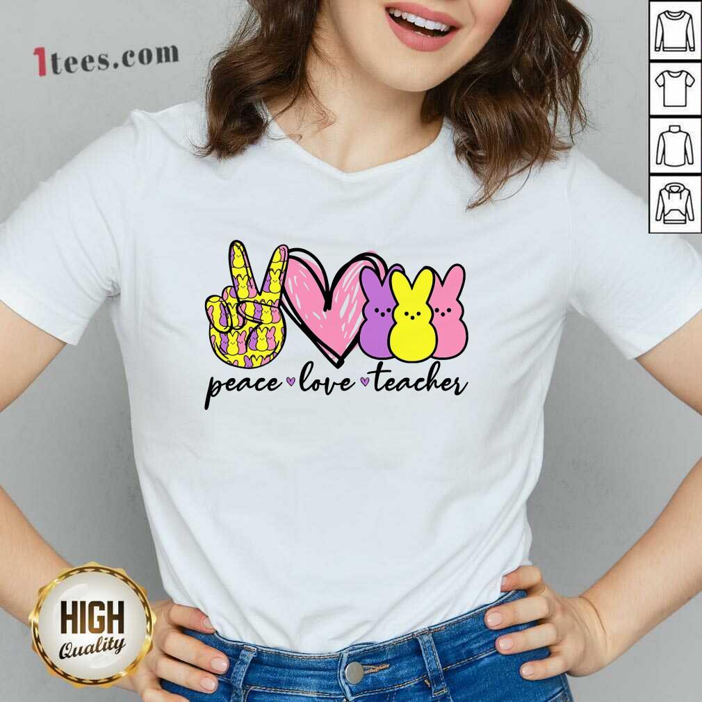 Pretty Teacher Peace Love Bunny V-neck