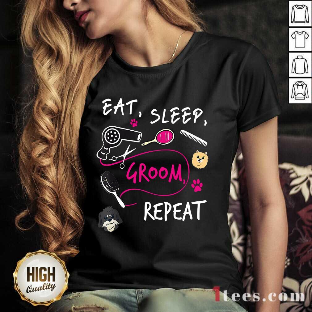Cute Dog Eat Sleep Groom Repeat V-neck