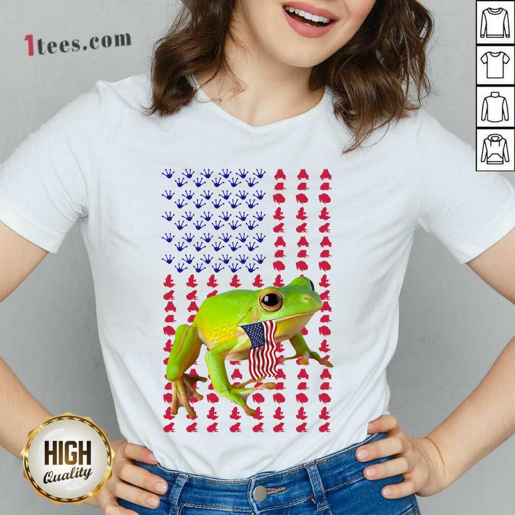 Frog American Flag V-neck