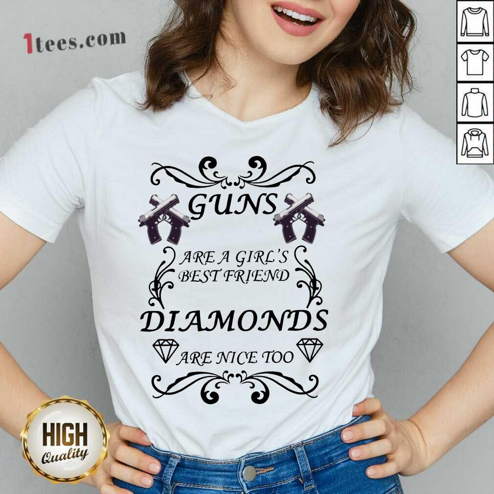 Guns Are A Girl's Best Friend Diamonds V-neck