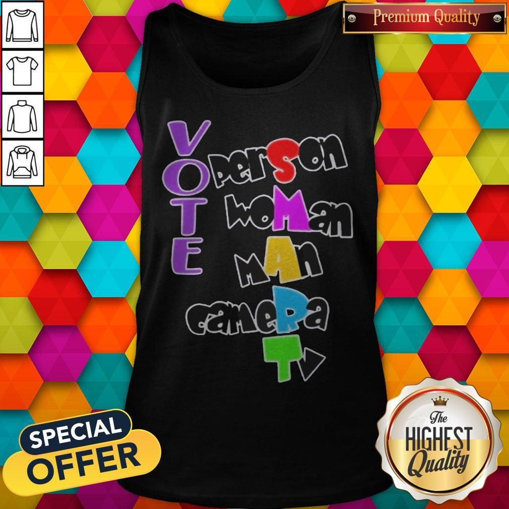 Nice Vote Person Woman Man Camera TV Tank Top