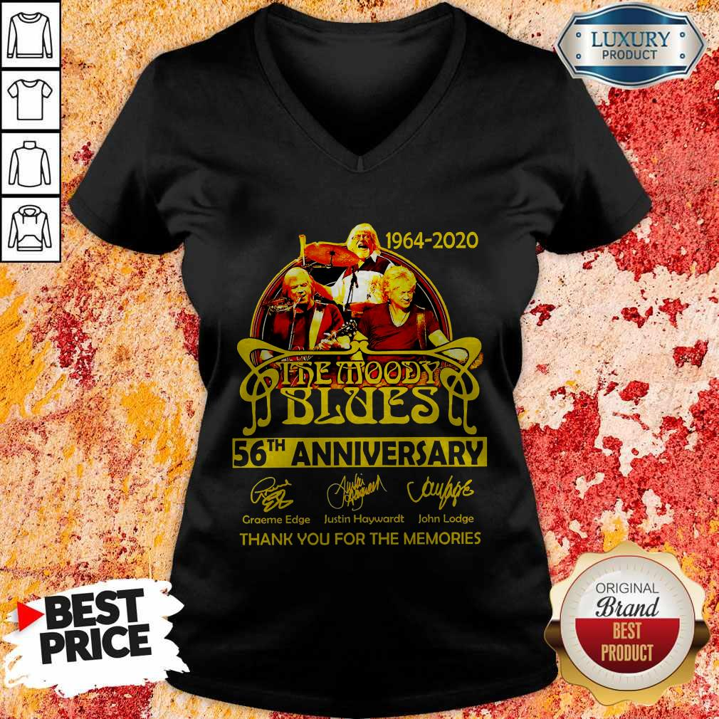 1964 2020 The Moody Blues 56th Anniversary Thank You For The Memories Signatures V-neck