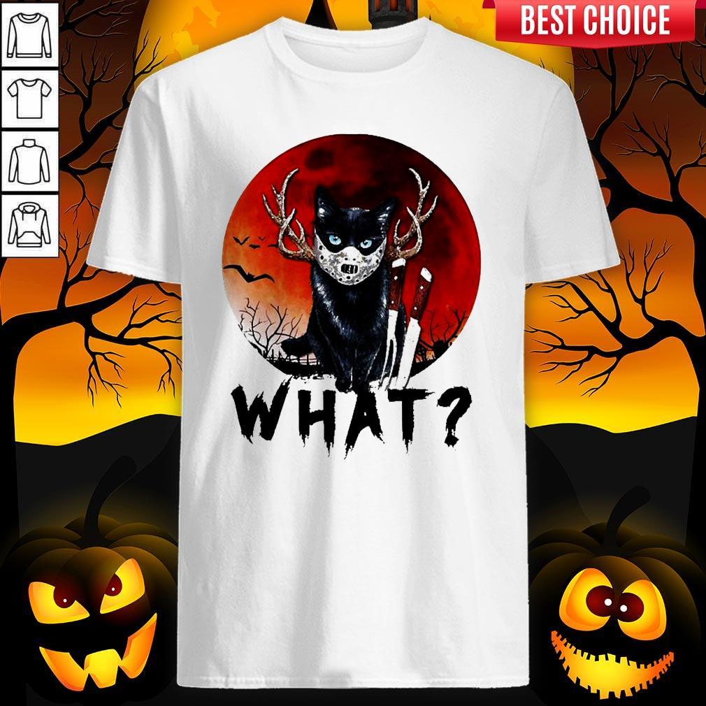 Black Cat Jason Voorhees What Halloween Shirt