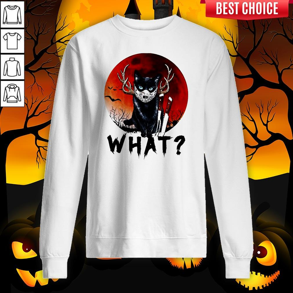 Black Cat Jason Voorhees What Halloween Sweatshirt