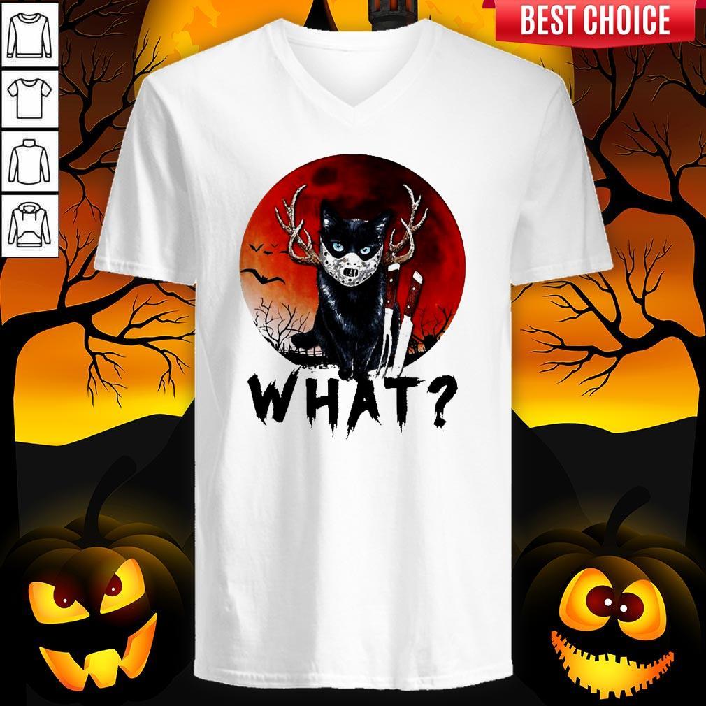 Black Cat Jason Voorhees What Halloween V-neck