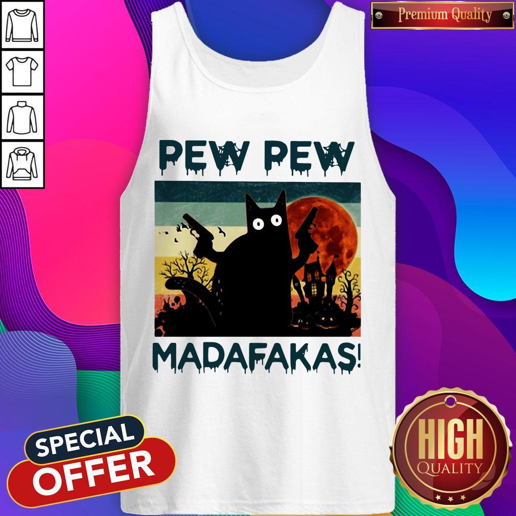 Black Cat Pew Pew Madafakas Halloween Tank Top