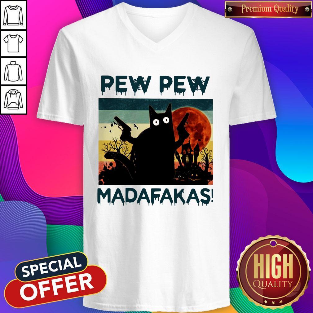 Black Cat Pew Pew Madafakas Halloween V-neck