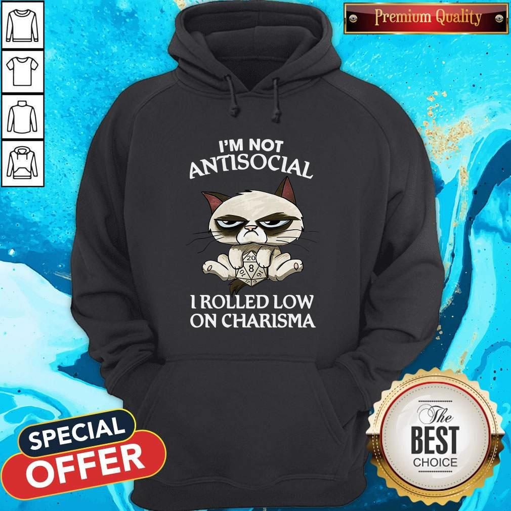 Cat Grumpy I'm Not Antisocial I Rolled Low On Charisma Hoodie