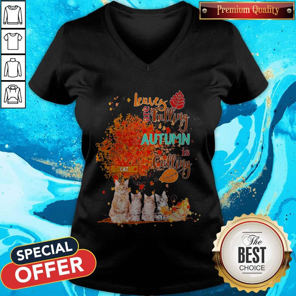 Cats Leaves Are Falling Autumn Is Calling V-neck