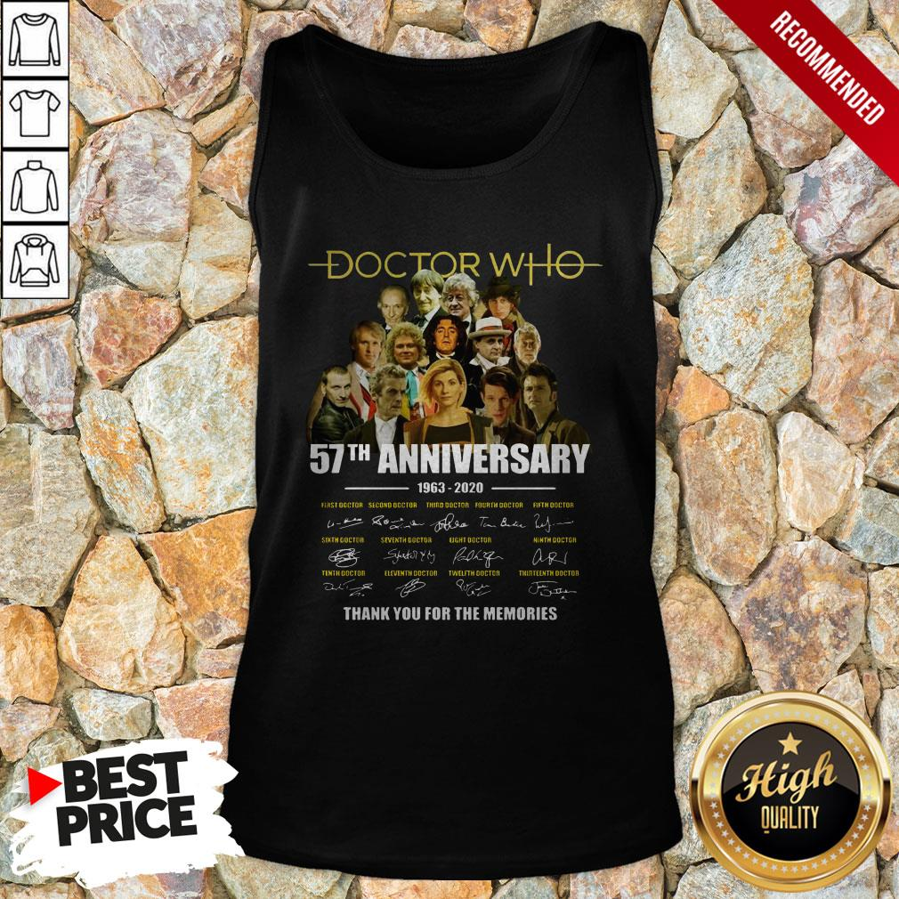 Doctor Who 57th Anniversary 1963 2020 Characters Signatures Tank Top