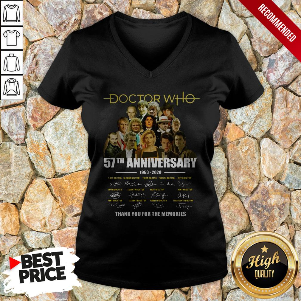 Doctor Who 57th Anniversary 1963 2020 Characters Signatures V-neck
