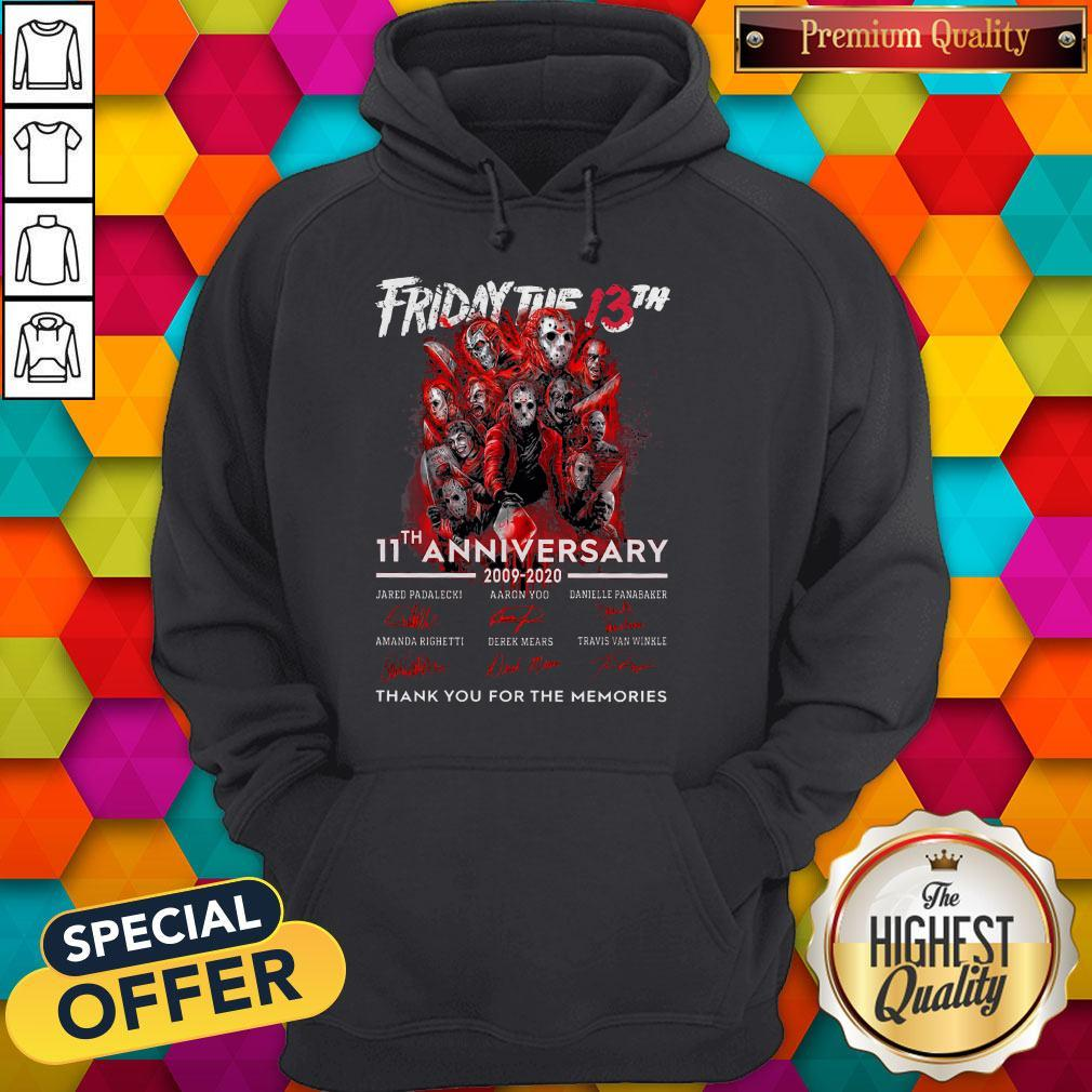 Friday The 13th 11th Anniversary 2009-2020 Signatures Thank You For The Memories Hoodie