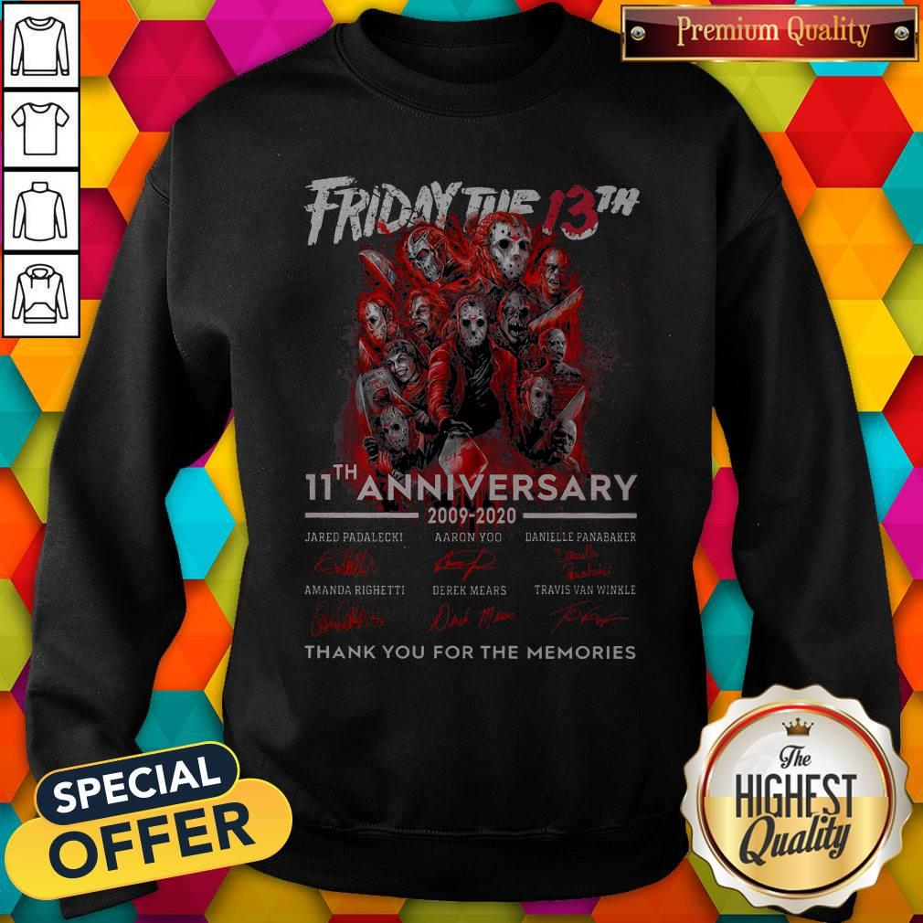 Friday The 13th 11th Anniversary 2009-2020 Signatures Thank You For The Memories Sweatshirt