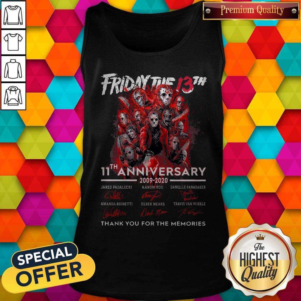 Friday The 13th 11th Anniversary 2009-2020 Signatures Thank You For The Memories Tank Top