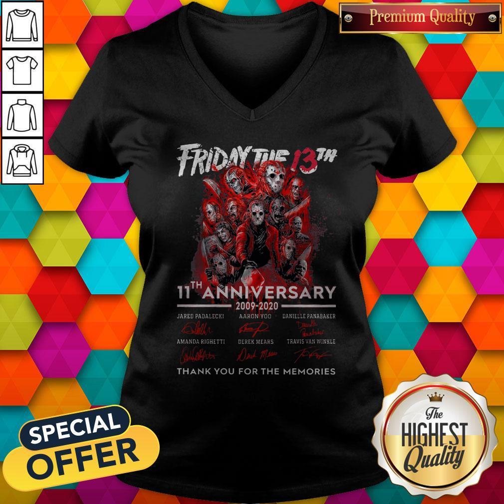 Friday The 13th 11th Anniversary 2009-2020 Signatures Thank You For The Memories V-neck