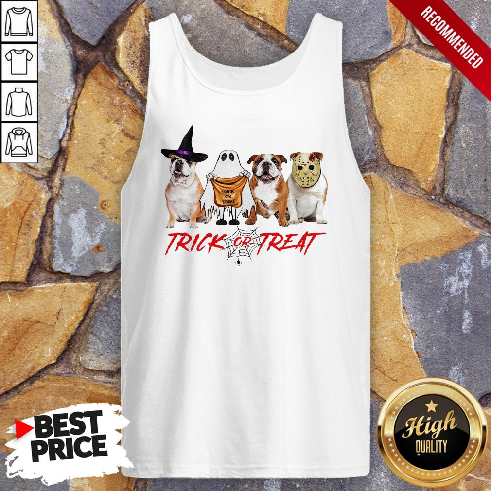 Funny Bulldog Trick Or Treat Tank Top
