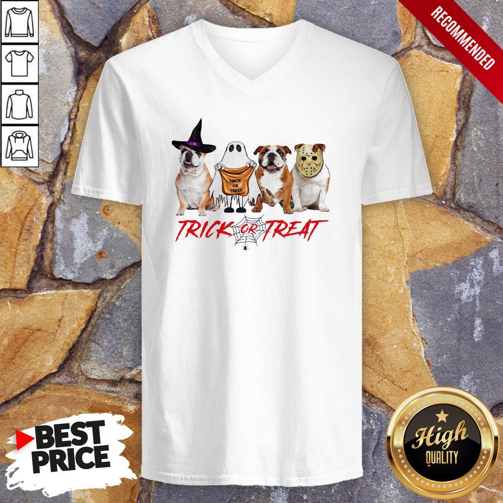 Funny Bulldog Trick Or Treat V-neck