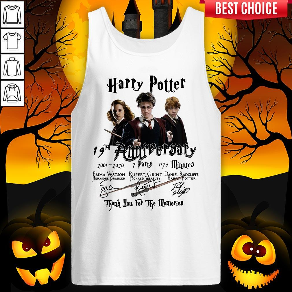 Harry Potter 19th Anniversary 2001 2020 7 Parts 1179 Minutes Thank You For The Memories Signatures Tank Top