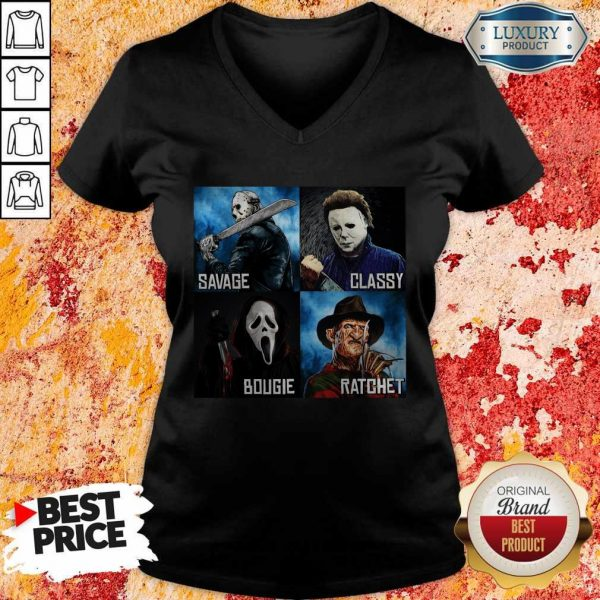 Horror Movies Characters Savage Classy Bougie Ratchet V-neck