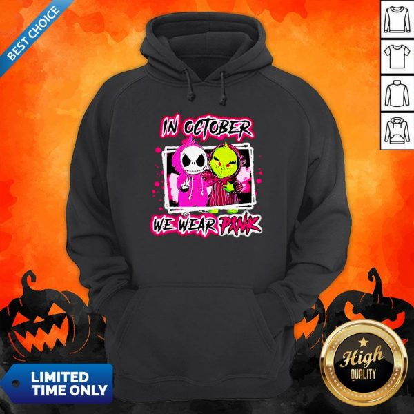 Jack Skellington And Grinch In October We Wear Pink Hoodie