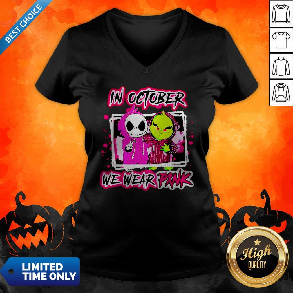 Jack Skellington And Grinch In October We Wear Pink V-neck