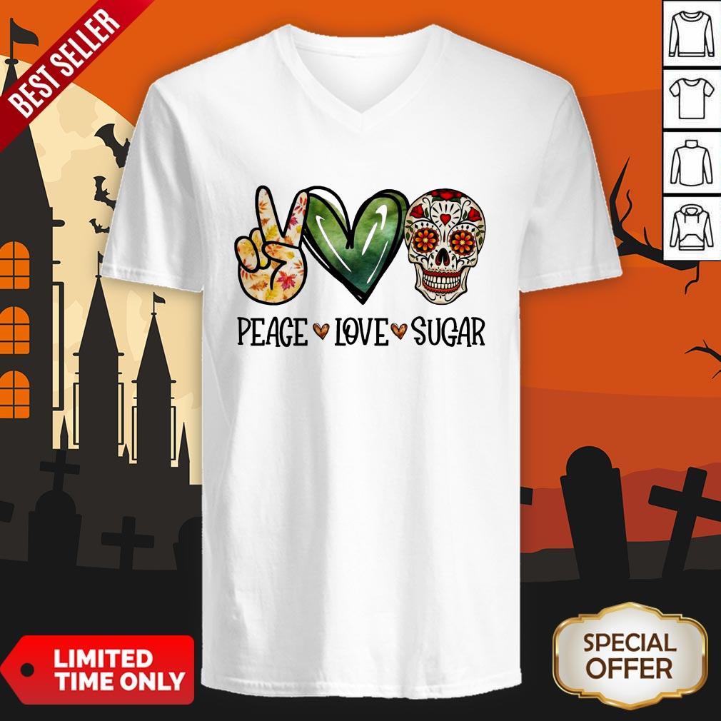Nice Peace Love Sugar Skull V-neck