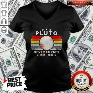 Pluto Never Forget 1930 2006 Vintage V-neck