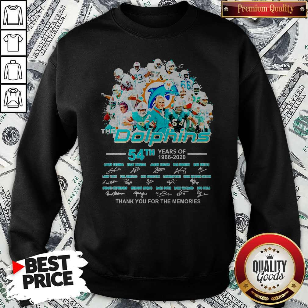 The Dolphins 54th Years Of 1966 2020 Thank You For The Memories Signatures Sweatshirt