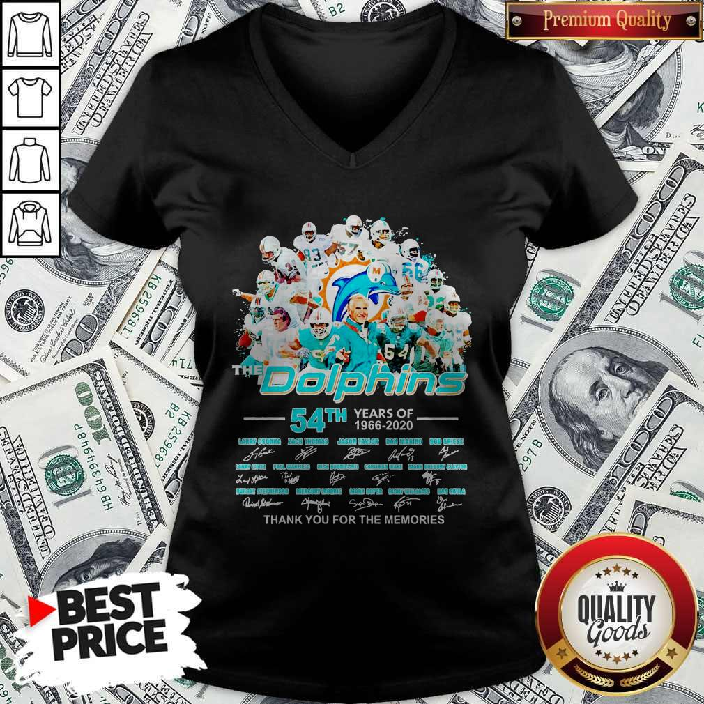 The Dolphins 54th Years Of 1966 2020 Thank You For The Memories Signatures V-neck