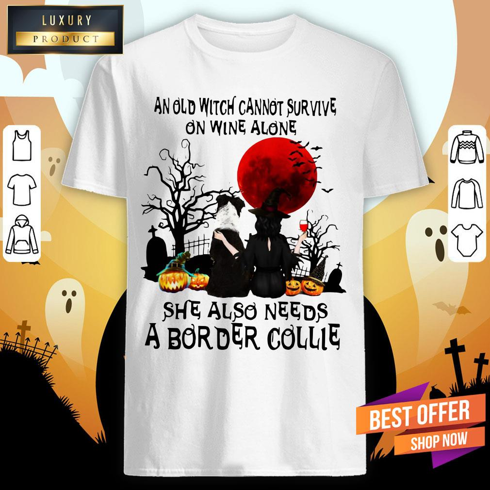An Old Witch Cannot Survive On Wine Alone She Also Needs A Border Collie Moon Halloween Shirt